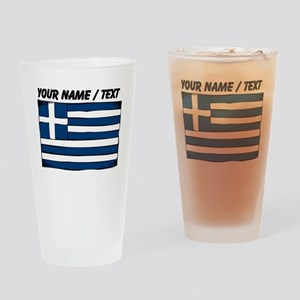 Custom Greece Flag Drinking Glass