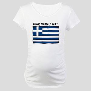 Custom Greece Flag Maternity T-Shirt