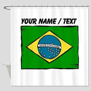 Custom Brazil Flag Shower Curtain