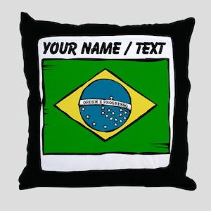 Custom Brazil Flag Throw Pillow