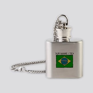 Custom Brazil Flag Flask Necklace