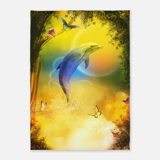Colorful Dolphin 5'x7'Area Rug