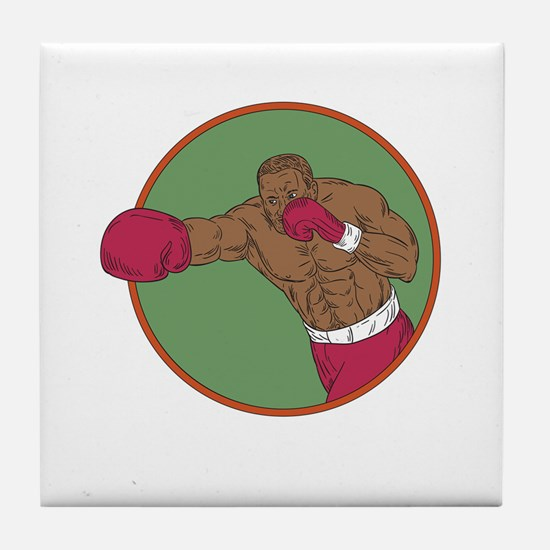 African-American Boxer Right Hook Circle Drawing T