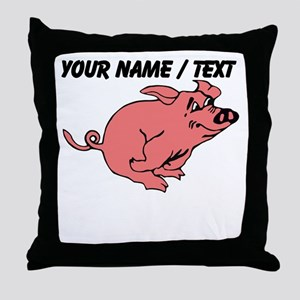 Custom Running Pig Throw Pillow