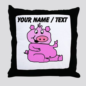 Custom Funny Pink Pig Throw Pillow