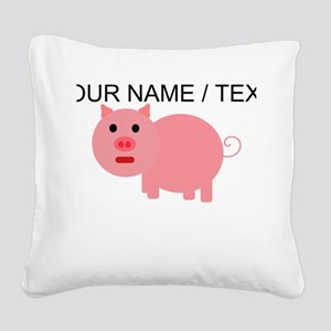 Custom Pink Pig Cartoon Square Canvas Pillow