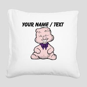 Custom Funny Pig Cartoon Square Canvas Pillow