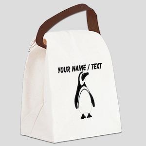 Custom Black and White Penguin Canvas Lunch Bag
