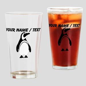 Custom Black and White Penguin Drinking Glass