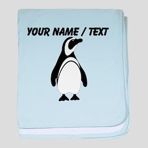 Custom Black and White Penguin baby blanket
