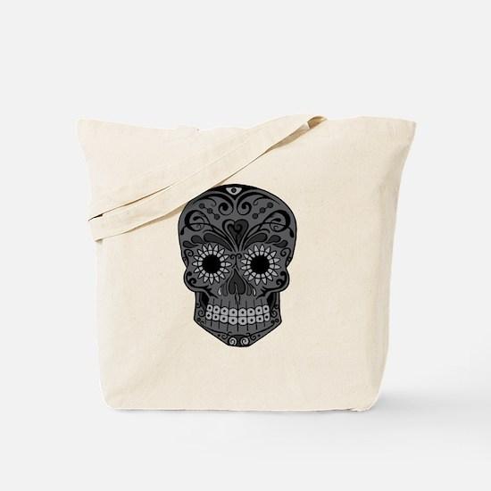 Black And Grey Sugar Skull Tote Bag