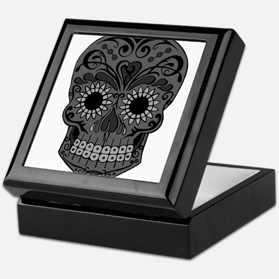 Black And Grey Sugar Skull Keepsake Box