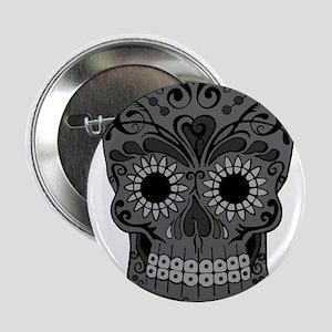 "Black And Grey Sugar Skull 2.25"" Button"