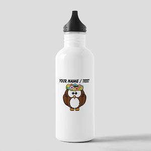Custom Flower Crown Owl Water Bottle