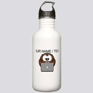 Custom Computer Nerd Owl Water Bottle