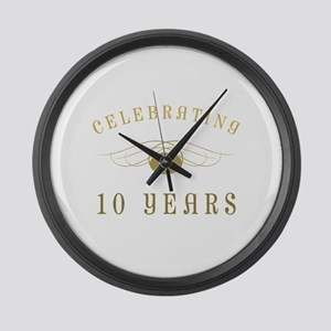 Celebrating 10 Years Of Marriage Large Wall Clock