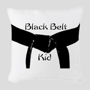 Martial Arts Black Belt Kid Woven Throw Pillow