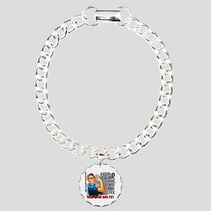 Rosie Keep Calm Skin Cancer Charm Bracelet, One Ch
