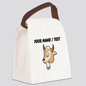 Custom Cartoon Goat Head Canvas Lunch Bag