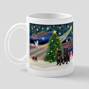 Xmas Magic & 2 Black Pugs Mug