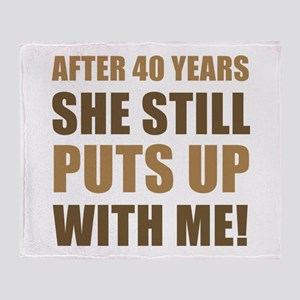 40th Anniversary Humor For Men Throw Blanket
