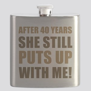 40th Anniversary Humor For Men Flask