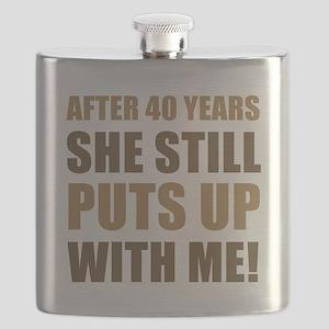 40th Anniversary Humor For Men Flask