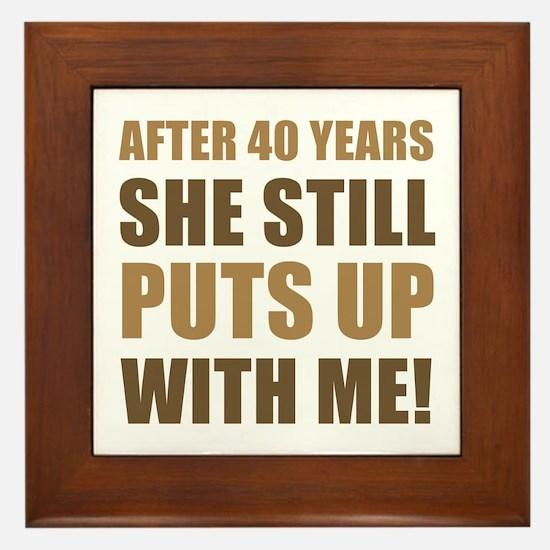 40th Anniversary Humor For Men Framed Tile