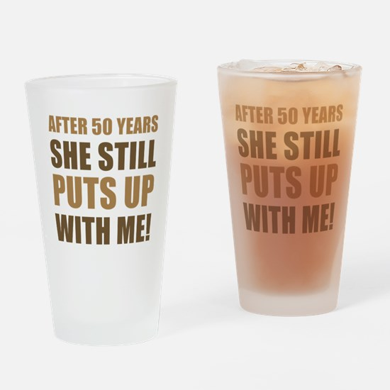 50th Anniversary Humor For Men Drinking Glass