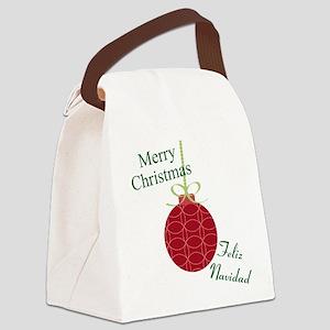 Merry Christmas Feliz Navidad Canvas Lunch Bag