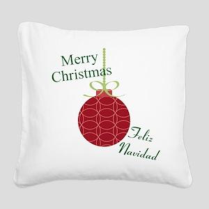 Merry Christmas Feliz Navidad Square Canvas Pillow
