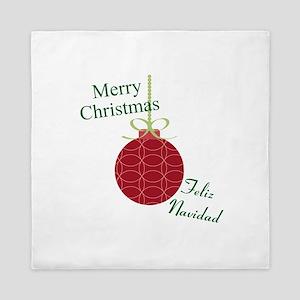 Merry Christmas Feliz Navidad Queen Duvet