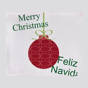 Merry Christmas Feliz Navidad Throw Blanket