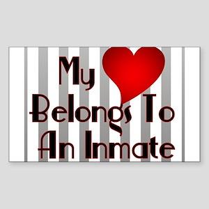 Heart Belongs to Inmate Rectangle Sticker