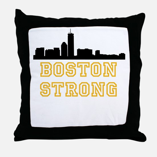 BOSTON STRONG GOLD AND BLACK Throw Pillow