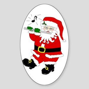 Santa Plays Flute Christmas Oval Sticker