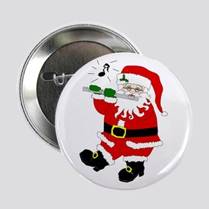 Santa Plays Flute Christmas Button