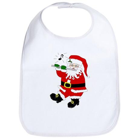 Santa Plays Flute Christmas Bib