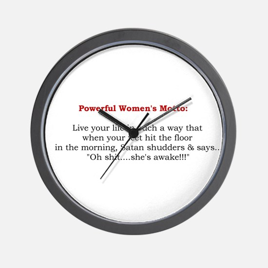 Powerful Women's Motto Wall Clock
