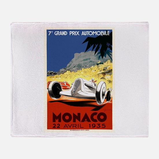 Antique 1935 Monaco Grand Prix Race Poster Throw B