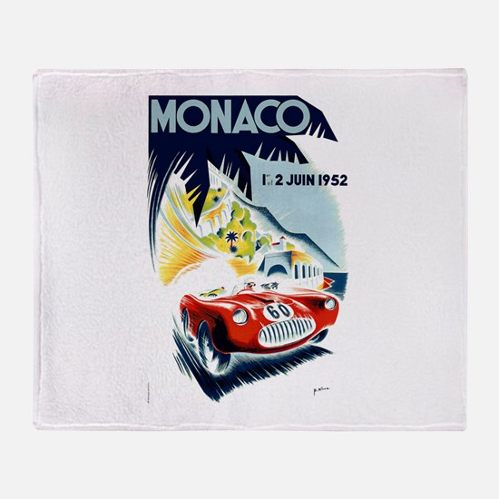 Antique 1952 Monaco Grand Prix Race Poster Throw B