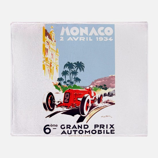 Antique 1934 Monaco Grand Prix Race Poster Throw B