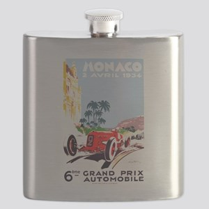 Antique 1934 Monaco Grand Prix Race Poster Flask
