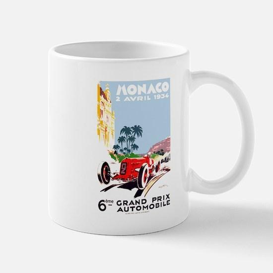 Antique 1934 Monaco Grand Prix Race Poster Mug