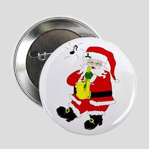 Santa Plays Sax Christmas Button