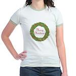 Christmas Wreath Jr. Ringer T-Shirt