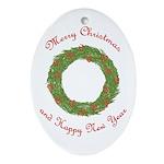 Christmas & New Year Wreath Oval Ornament
