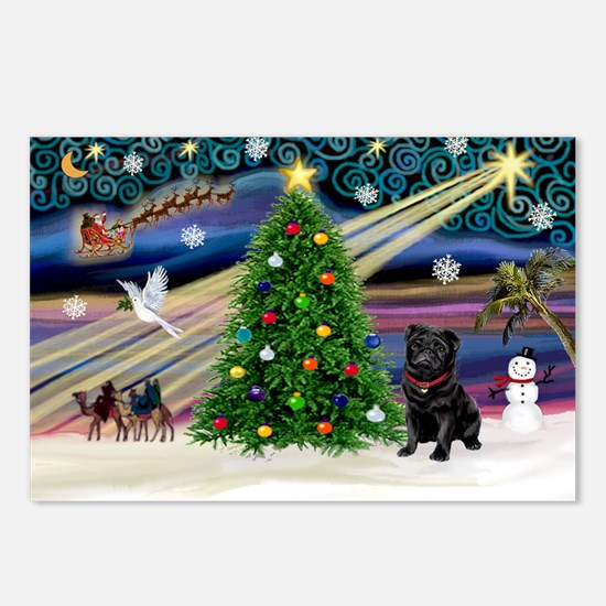 Xmas Magic & Black Pug Postcards (Package of 8)