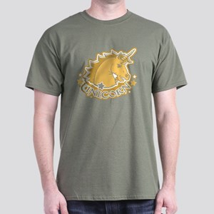 Gold Unicorn Crest Portrait Dark T-Shirt