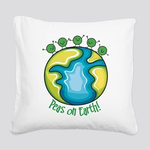 Peas on Earth Square Canvas Pillow